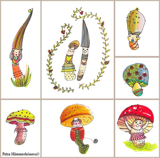 mushroom sketches by Petra Haemmerleinova
