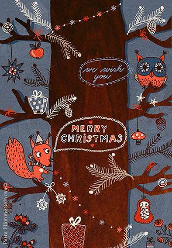 Petra Haemmerleinova christmas card forest Kopie