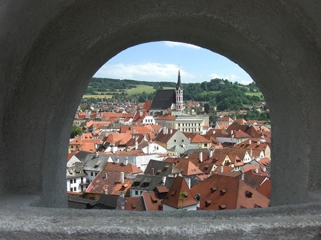 Cesky Krumlov old city view